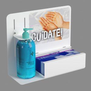 Dispensador de gel y guantes